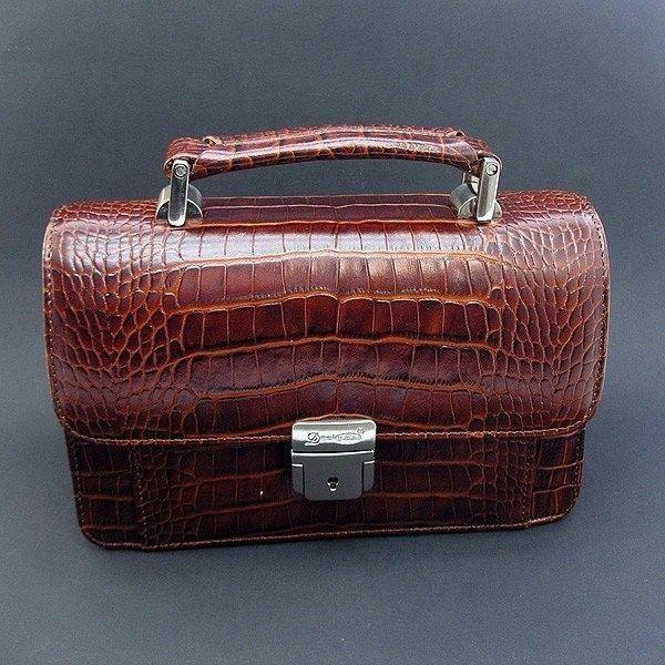 76b219becd74 Кожаная коричневая лаковая барсетка Desisan — купить в интернет ...