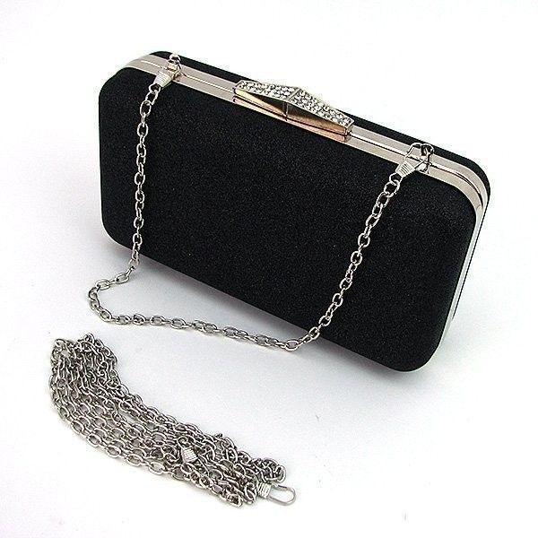 fc3f6f841bfb Маленькая черная вечерняя сумка-клатч с блестками — купить в ...