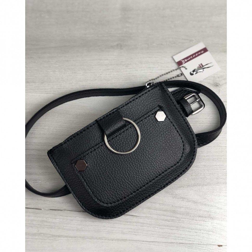 7d3d2a02d Черная сумка на пояс 99204 молодежная — купить в интернет магазине ...